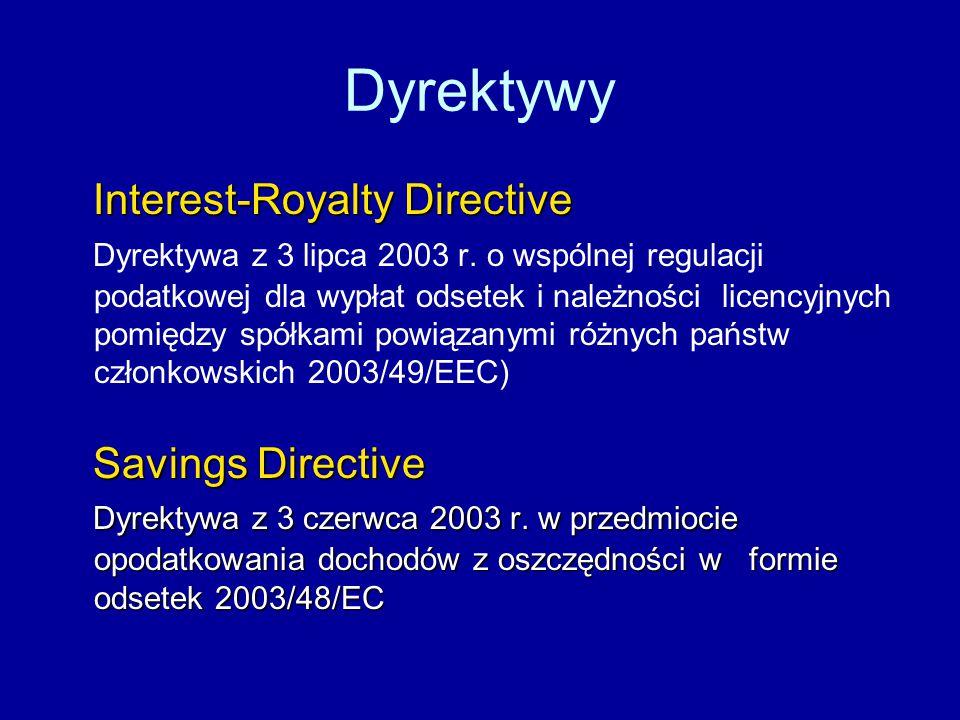 Dyrektywy Interest-Royalty Directive Interest-Royalty Directive Dyrektywa z 3 lipca 2003 r.