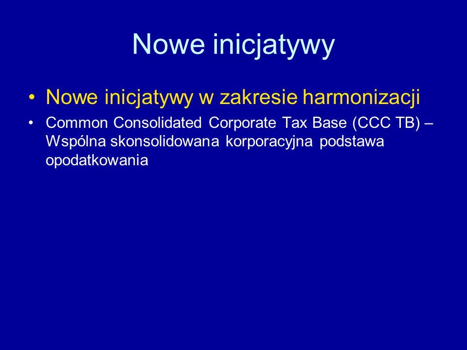 Nowe inicjatywy Nowe inicjatywy w zakresie harmonizacji Common Consolidated Corporate Tax Base (CCC TB) – Wspólna skonsolidowana korporacyjna podstawa opodatkowania