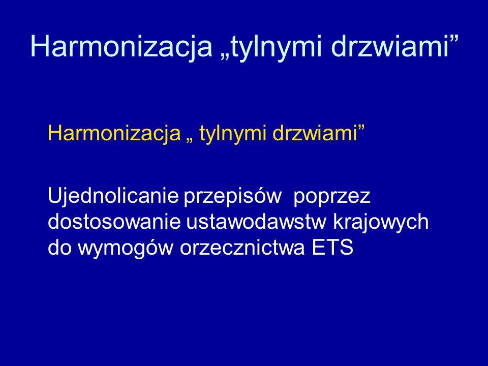 """Harmonizacja """"tylnymi drzwiami Harmonizacja """" tylnymi drzwiami Ujednolicanie przepisów poprzez dostosowanie ustawodawstw krajowych do wymogów orzecznictwa ETS"""