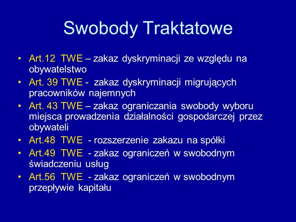 Swobody Traktatowe Art.12 TWE – zakaz dyskryminacji ze względu na obywatelstwo Art.