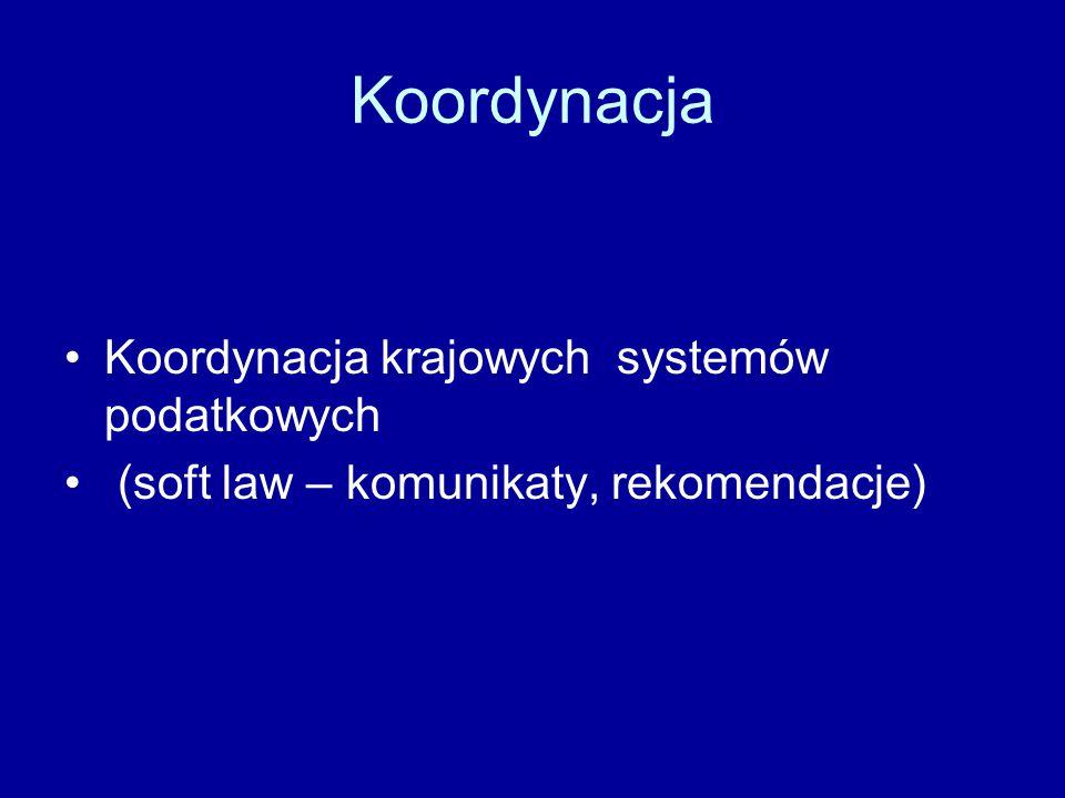Koordynacja Koordynacja krajowych systemów podatkowych (soft law – komunikaty, rekomendacje)