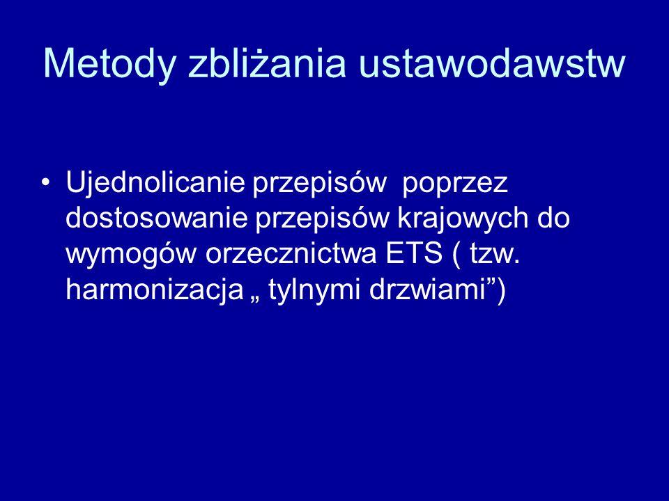 Metody zbliżania ustawodawstw Ujednolicanie przepisów poprzez dostosowanie przepisów krajowych do wymogów orzecznictwa ETS ( tzw.