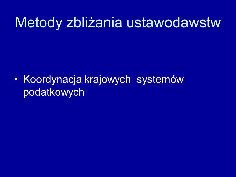 Metody zbliżania ustawodawstw Koordynacja krajowych systemów podatkowych