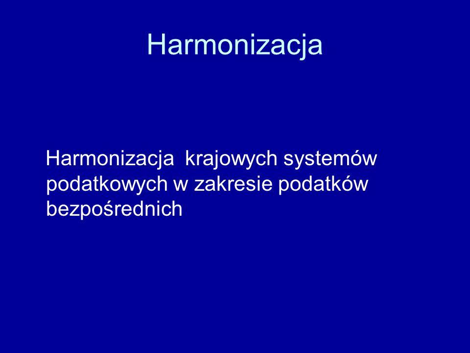 Harmonizacja Instrumentem harmonizacji w zakresie podatków bezpośrednich są dyrektywy (art.94 TWE); możliwe są rekomendacje, które nie mają wiążącego charakteru ( inaczej w podatkach pośrednich)