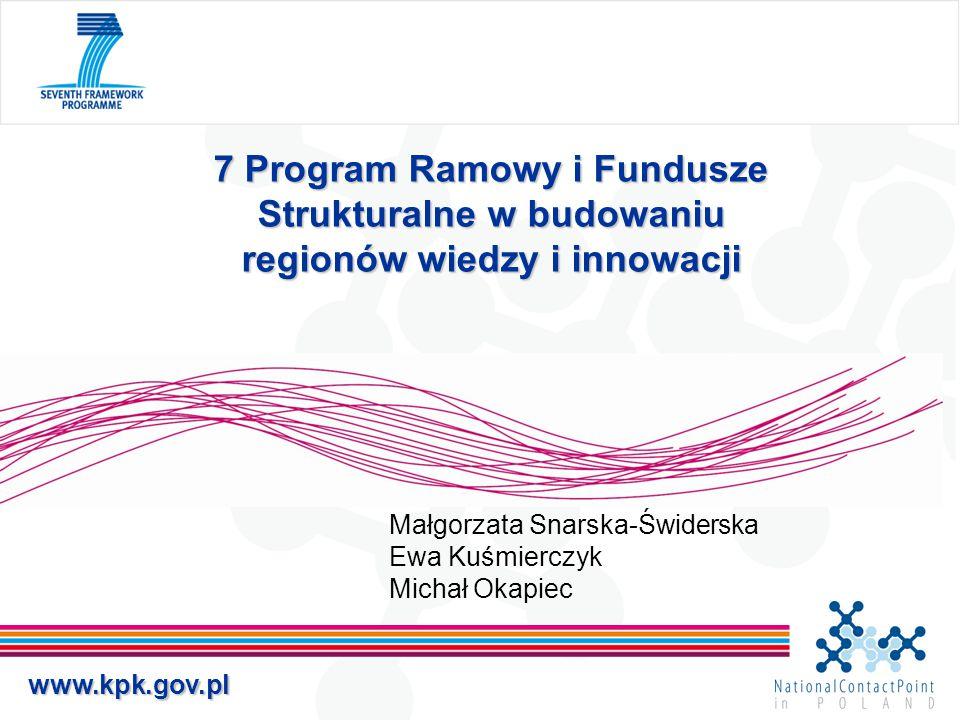 www.kpk.gov.pl 7 Program Ramowy i Fundusze Strukturalne w budowaniu regionów wiedzy i innowacji Małgorzata Snarska-Świderska Ewa Kuśmierczyk Michał Ok