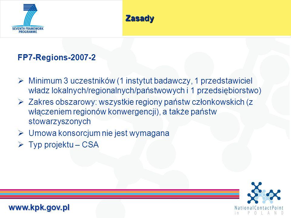 www.kpk.gov.plZasady FP7-Regions-2007-2  Minimum 3 uczestników (1 instytut badawczy, 1 przedstawiciel władz lokalnych/regionalnych/państwowych i 1 pr