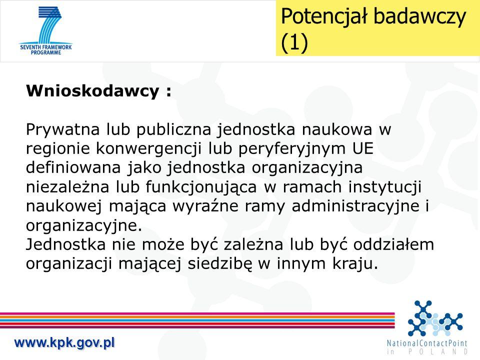 www.kpk.gov.pl Wnioskodawcy : Prywatna lub publiczna jednostka naukowa w regionie konwergencji lub peryferyjnym UE definiowana jako jednostka organiza