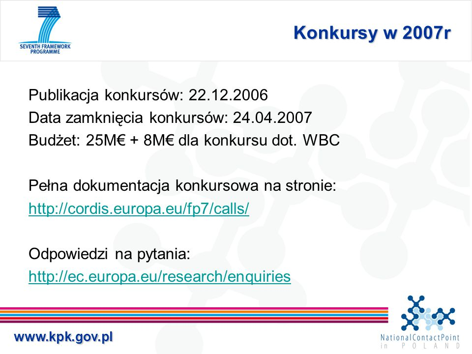 www.kpk.gov.pl Konkursy w 2007r Publikacja konkursów: 22.12.2006 Data zamknięcia konkursów: 24.04.2007 Budżet: 25M€ + 8M€ dla konkursu dot. WBC Pełna
