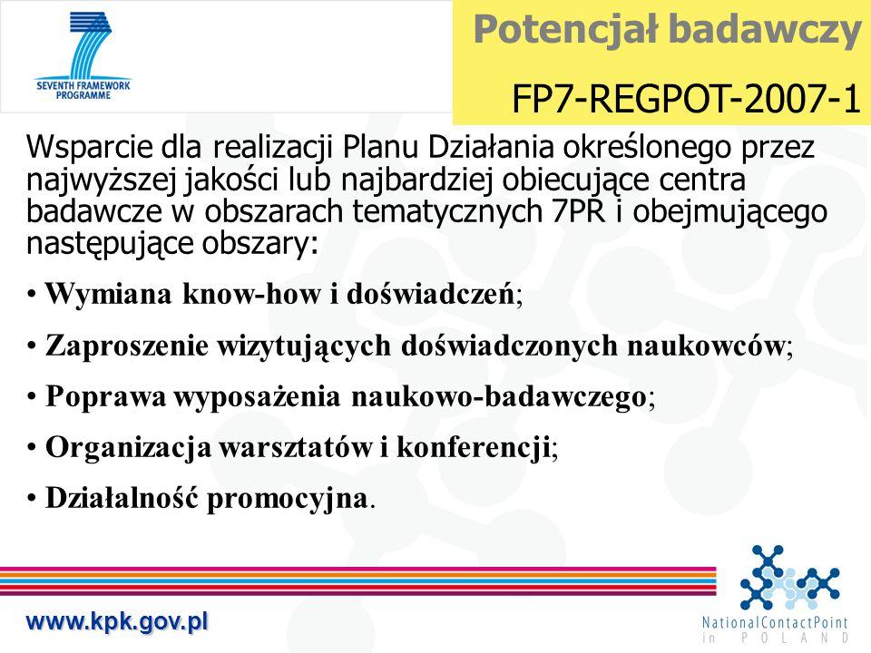 www.kpk.gov.pl Wsparcie dla realizacji Planu Działania określonego przez najwyższej jakości lub najbardziej obiecujące centra badawcze w obszarach tem