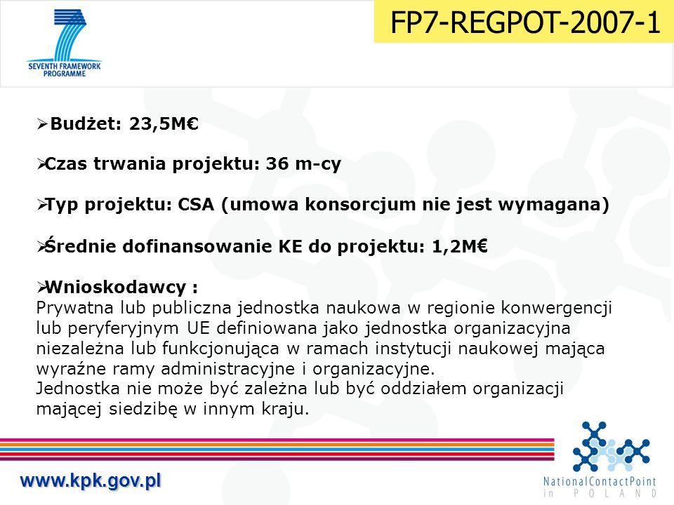 www.kpk.gov.pl  Budżet: 23,5M€  Czas trwania projektu: 36 m-cy  Typ projektu: CSA (umowa konsorcjum nie jest wymagana)  Średnie dofinansowanie KE