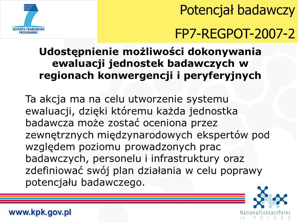 www.kpk.gov.pl Udostępnienie możliwości dokonywania ewaluacji jednostek badawczych w regionach konwergencji i peryferyjnych Ta akcja ma na celu utworz
