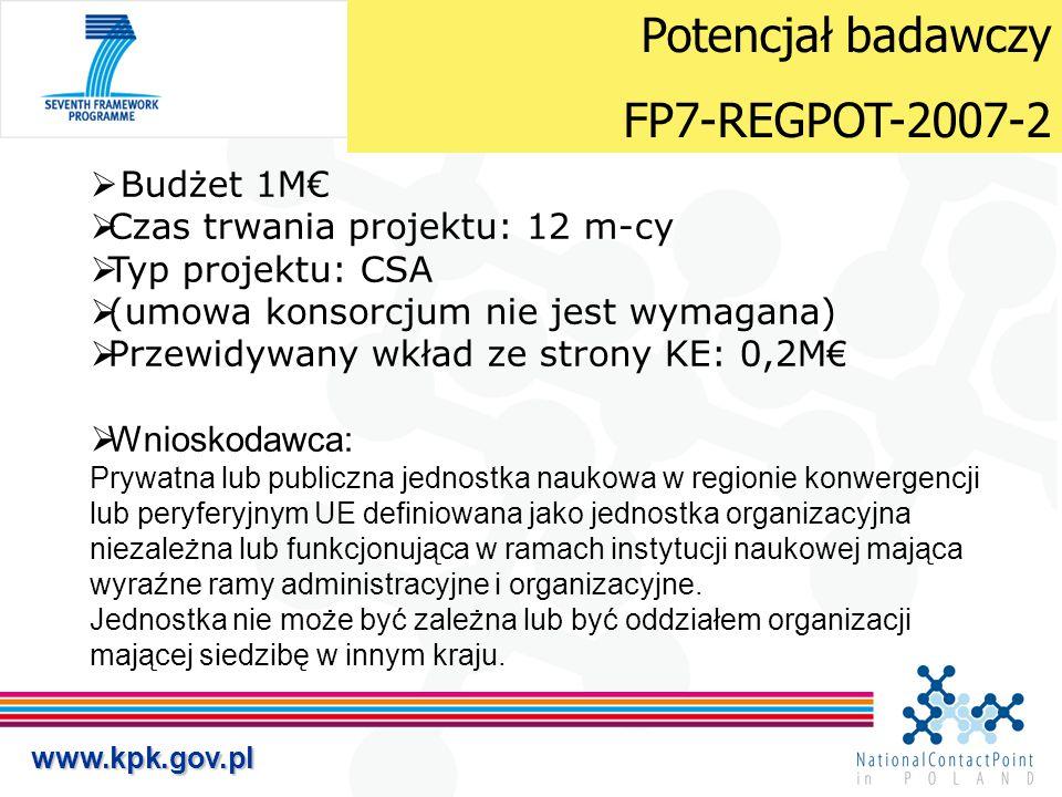 www.kpk.gov.pl  Budżet 1M€  Czas trwania projektu: 12 m-cy  Typ projektu: CSA  (umowa konsorcjum nie jest wymagana)  Przewidywany wkład ze strony