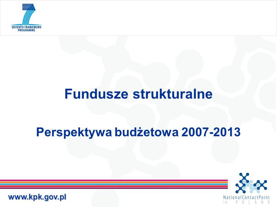 www.kpk.gov.pl Fundusze strukturalne Perspektywa budżetowa 2007-2013