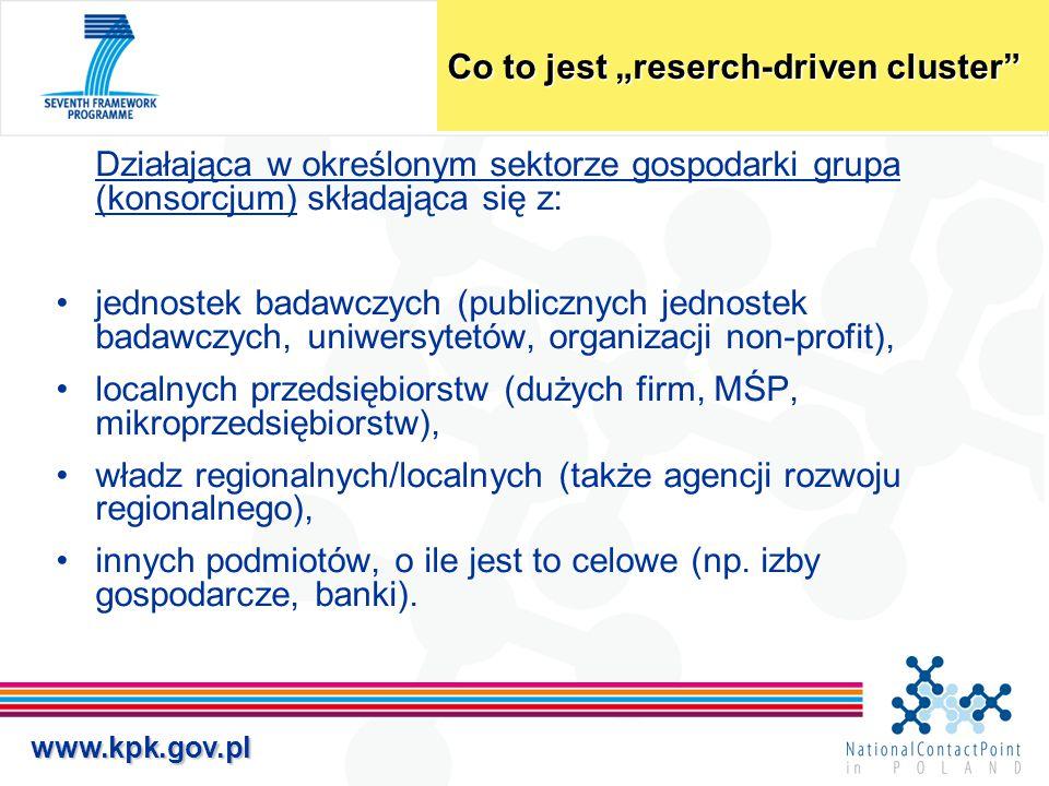 """www.kpk.gov.pl Co to jest """"reserch-driven cluster"""" Działająca w określonym sektorze gospodarki grupa (konsorcjum) składająca się z: jednostek badawczy"""