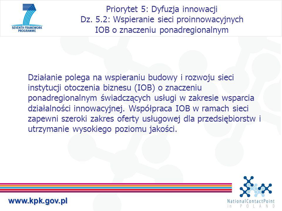 www.kpk.gov.pl Priorytet 5: Dyfuzja innowacji Dz. 5.2: Wspieranie sieci proinnowacyjnych IOB o znaczeniu ponadregionalnym Działanie polega na wspieran