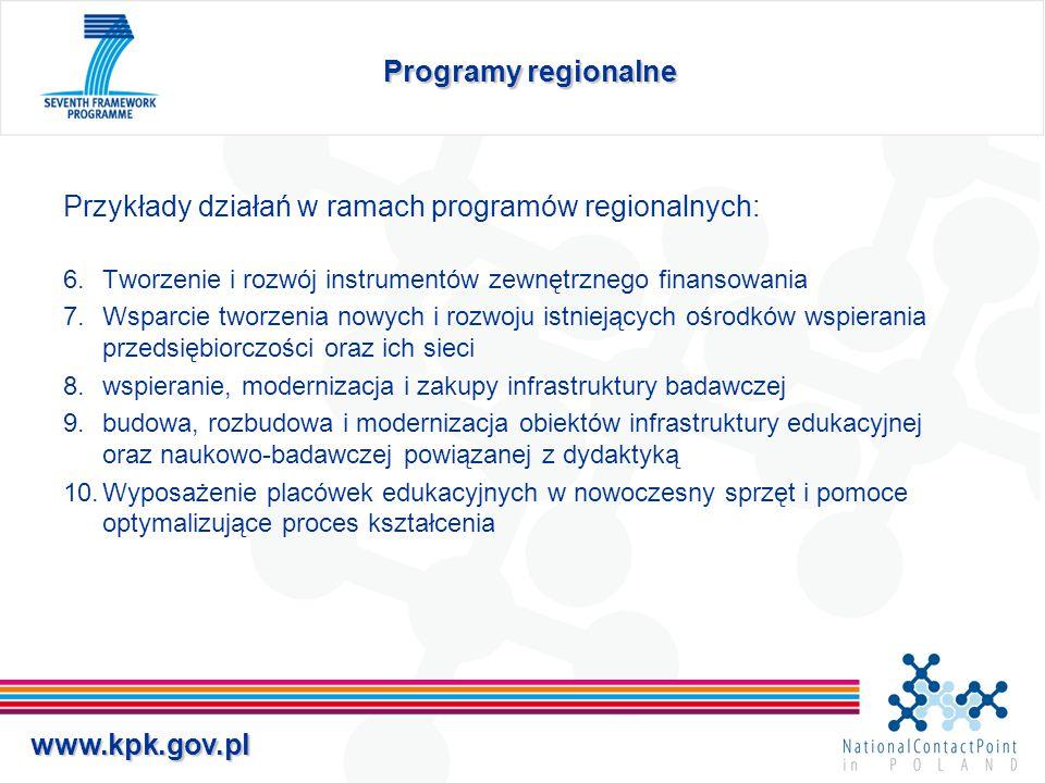 www.kpk.gov.pl Programy regionalne Przykłady działań w ramach programów regionalnych: 6.Tworzenie i rozwój instrumentów zewnętrznego finansowania 7.Ws