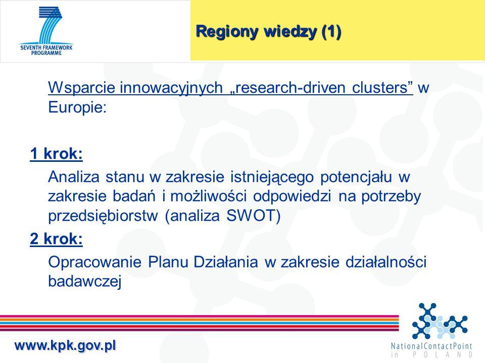 """www.kpk.gov.pl Regiony wiedzy (1) Wsparcie innowacyjnych """"research-driven clusters"""" w Europie: 1 krok: Analiza stanu w zakresie istniejącego potencjał"""