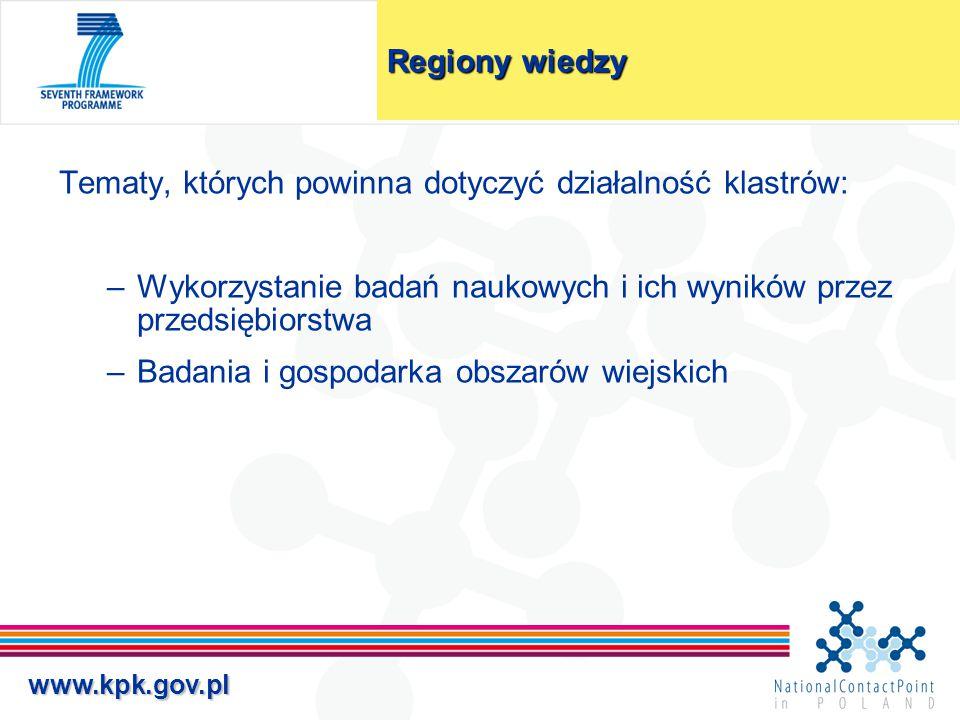 www.kpk.gov.pl Regiony wiedzy Tematy, których powinna dotyczyć działalność klastrów: –Wykorzystanie badań naukowych i ich wyników przez przedsiębiorst