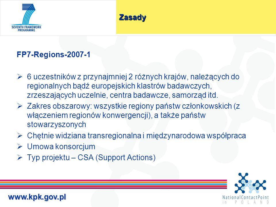 www.kpk.gov.plZasady FP7-Regions-2007-1  6 uczestników z przynajmniej 2 różnych krajów, należących do regionalnych bądź europejskich klastrów badawcz
