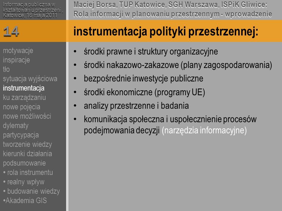 instrumentacja polityki przestrzennej: środki prawne i struktury organizacyjne środki nakazowo-zakazowe (plany zagospodarowania) bezpośrednie inwestycje publiczne środki ekonomiczne (programy UE) analizy przestrzenne i badania komunikacja społeczna i uspołecznienie procesów podejmowania decyzji (narzędzia informacyjne) Informacja publiczna w kształtowaniu przestrzeni, Katowice, 16 maja 2011 Maciej Borsa, TUP Katowice, SGH Warszawa, ISPiK Gliwice: Rola informacji w planowaniu przestrzennym - wprowadzenie 14 motywacje inspiracje tło sytuacja wyjściowa instrumentacja ku zarządzaniu nowe pojęcia nowe możliwości dylematy partycypacja tworzenie wiedzy kierunki działania podsumowanie rola instrumentu realny wpływ budowanie wiedzy Akademia GIS