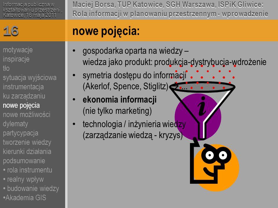 nowe pojęcia: gospodarka oparta na wiedzy – wiedza jako produkt: produkcja-dystrybucja-wdrożenie symetria dostępu do informacji (Akerlof, Spence, Stiglitz) ...