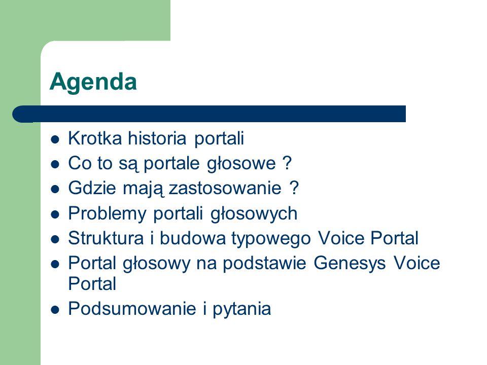 Agenda Krotka historia portali Co to są portale głosowe ? Gdzie mają zastosowanie ? Problemy portali głosowych Struktura i budowa typowego Voice Porta