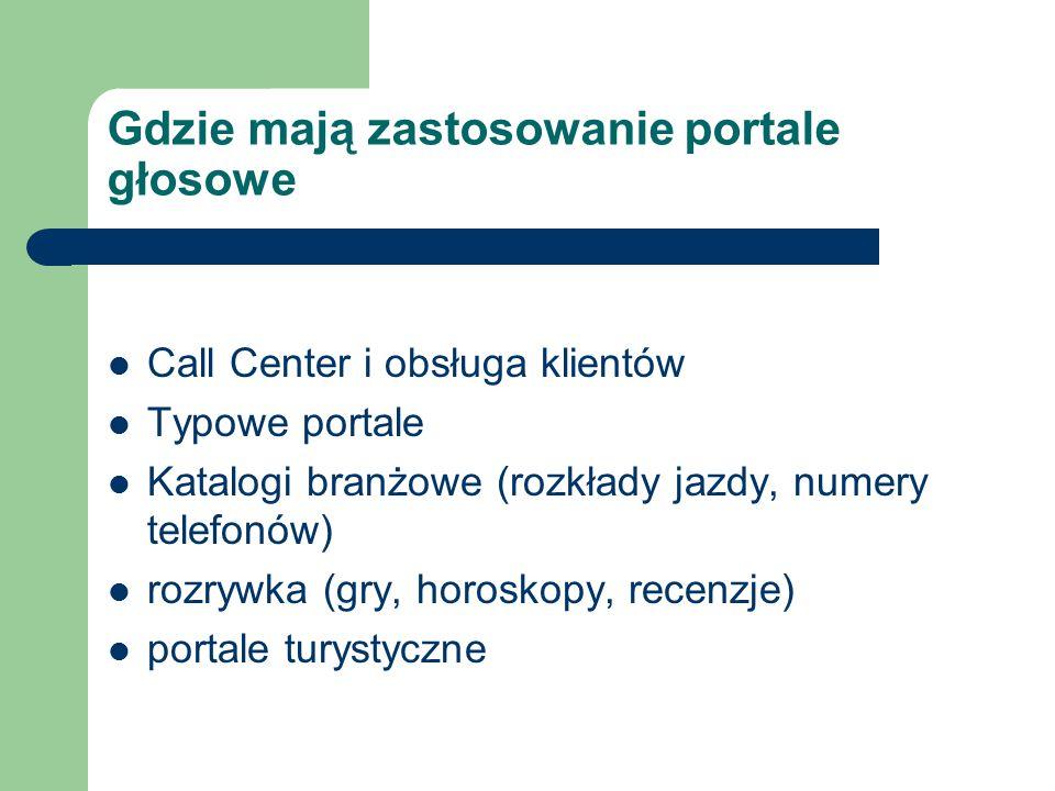 Gdzie mają zastosowanie portale głosowe Call Center i obsługa klientów Typowe portale Katalogi branżowe (rozkłady jazdy, numery telefonów) rozrywka (gry, horoskopy, recenzje) portale turystyczne