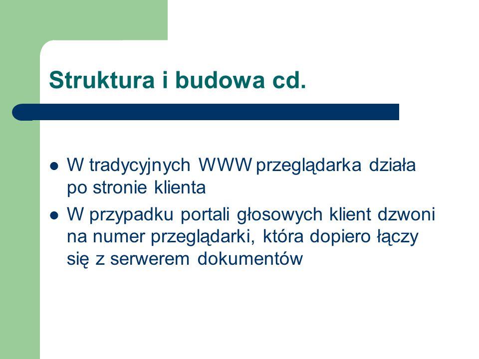 Struktura i budowa cd. W tradycyjnych WWW przeglądarka działa po stronie klienta W przypadku portali głosowych klient dzwoni na numer przeglądarki, kt