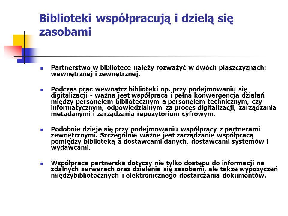 Biblioteki współpracują i dzielą się zasobami Partnerstwo w bibliotece należy rozważyć w dwóch płaszczyznach: wewnętrznej i zewnętrznej. Podczas prac