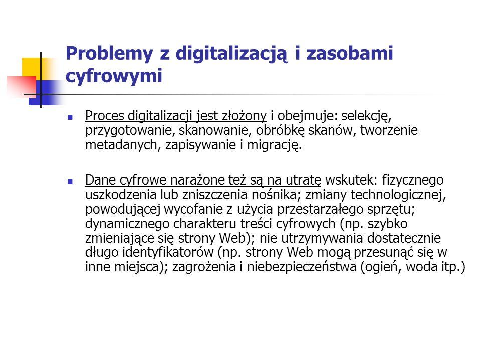 Problemy z digitalizacją i zasobami cyfrowymi Proces digitalizacji jest złożony i obejmuje: selekcję, przygotowanie, skanowanie, obróbkę skanów, tworz