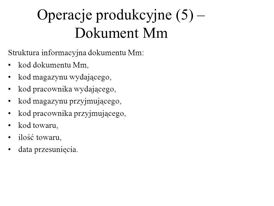 Struktura informacyjna dokumentu Mm: kod dokumentu Mm, kod magazynu wydającego, kod pracownika wydającego, kod magazynu przyjmującego, kod pracownika przyjmującego, kod towaru, ilość towaru, data przesunięcia.