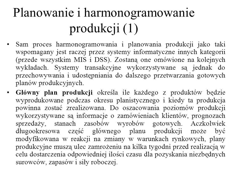 Sam proces harmonogramowania i planowania produkcji jako taki wspomagany jest raczej przez systemy informatyczne innych kategorii (przede wszystkim MIS i DSS).