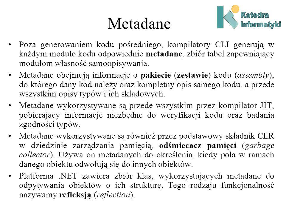 Metadane Poza generowaniem kodu pośredniego, kompilatory CLI generują w każdym module kodu odpowiednie metadane, zbiór tabel zapewniający modułom własność samoopisywania.