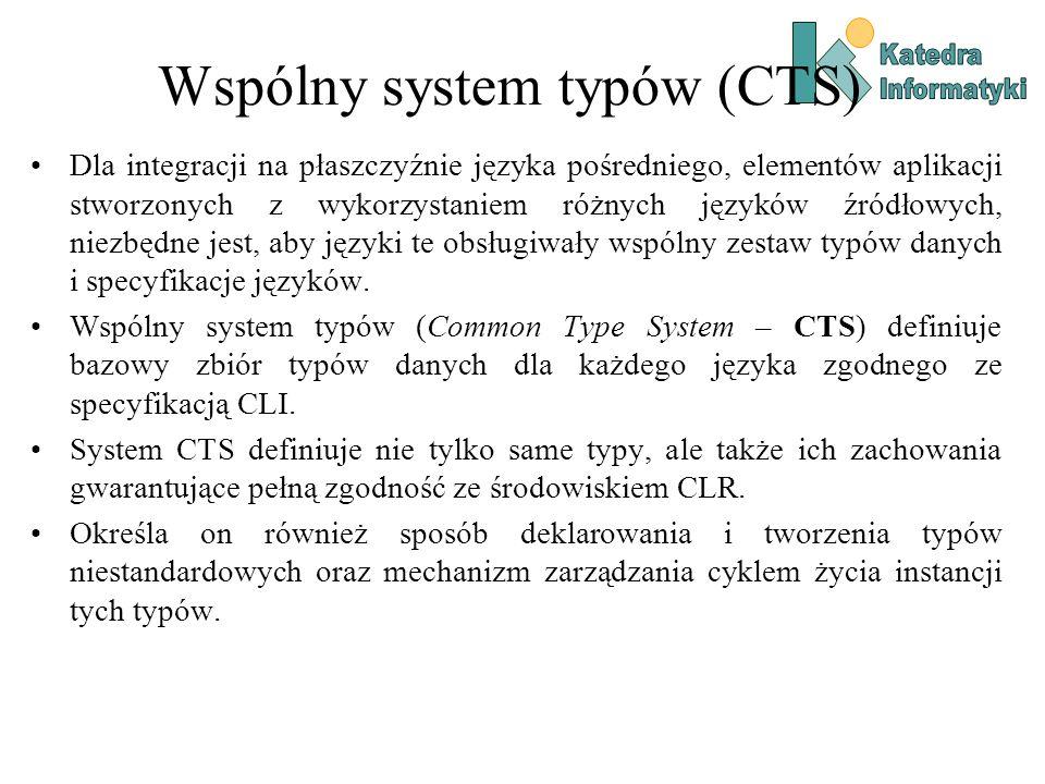Wspólny system typów (CTS) Dla integracji na płaszczyźnie języka pośredniego, elementów aplikacji stworzonych z wykorzystaniem różnych języków źródłowych, niezbędne jest, aby języki te obsługiwały wspólny zestaw typów danych i specyfikacje języków.