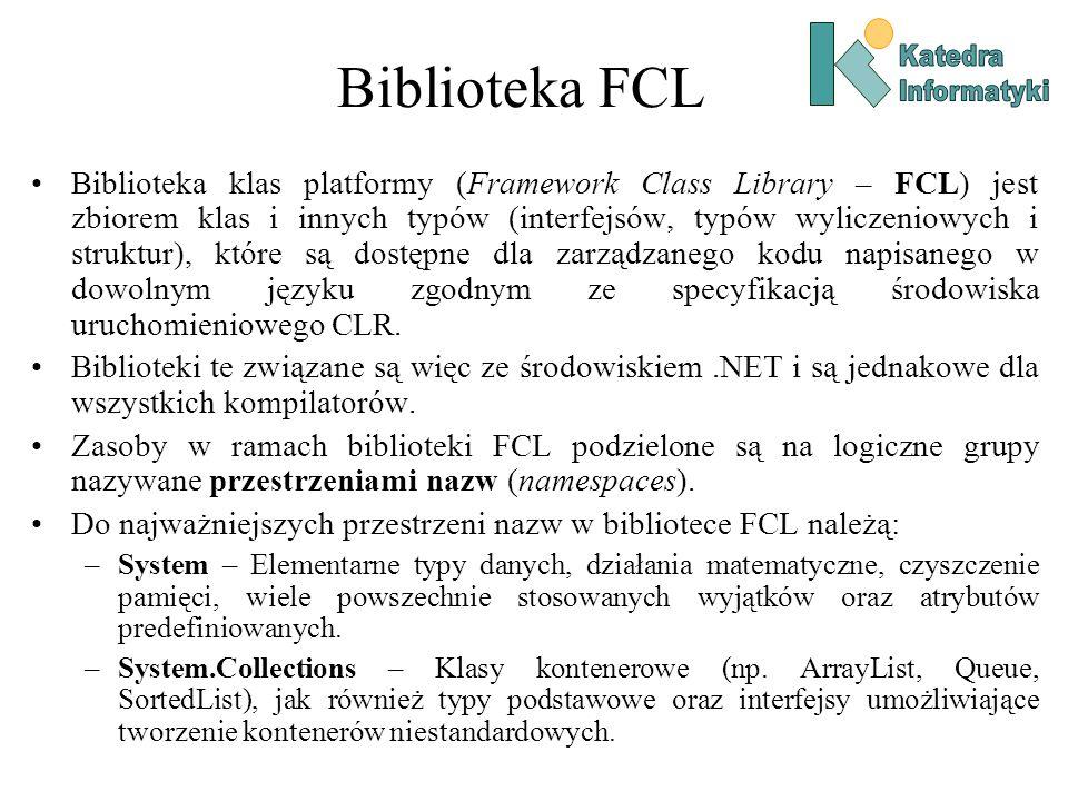 Biblioteka FCL Biblioteka klas platformy (Framework Class Library – FCL) jest zbiorem klas i innych typów (interfejsów, typów wyliczeniowych i struktur), które są dostępne dla zarządzanego kodu napisanego w dowolnym języku zgodnym ze specyfikacją środowiska uruchomieniowego CLR.