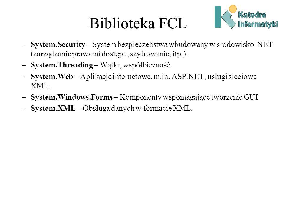 Biblioteka FCL –System.Security – System bezpieczeństwa wbudowany w środowisko.NET (zarządzanie prawami dostępu, szyfrowanie, itp.).