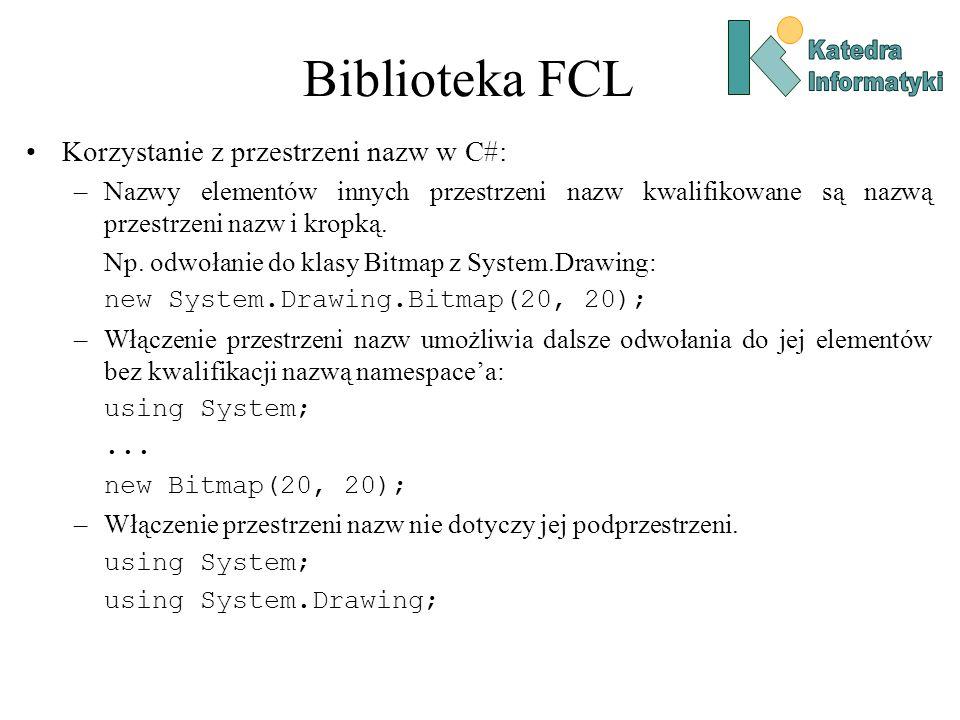 Biblioteka FCL Korzystanie z przestrzeni nazw w C#: –Nazwy elementów innych przestrzeni nazw kwalifikowane są nazwą przestrzeni nazw i kropką.