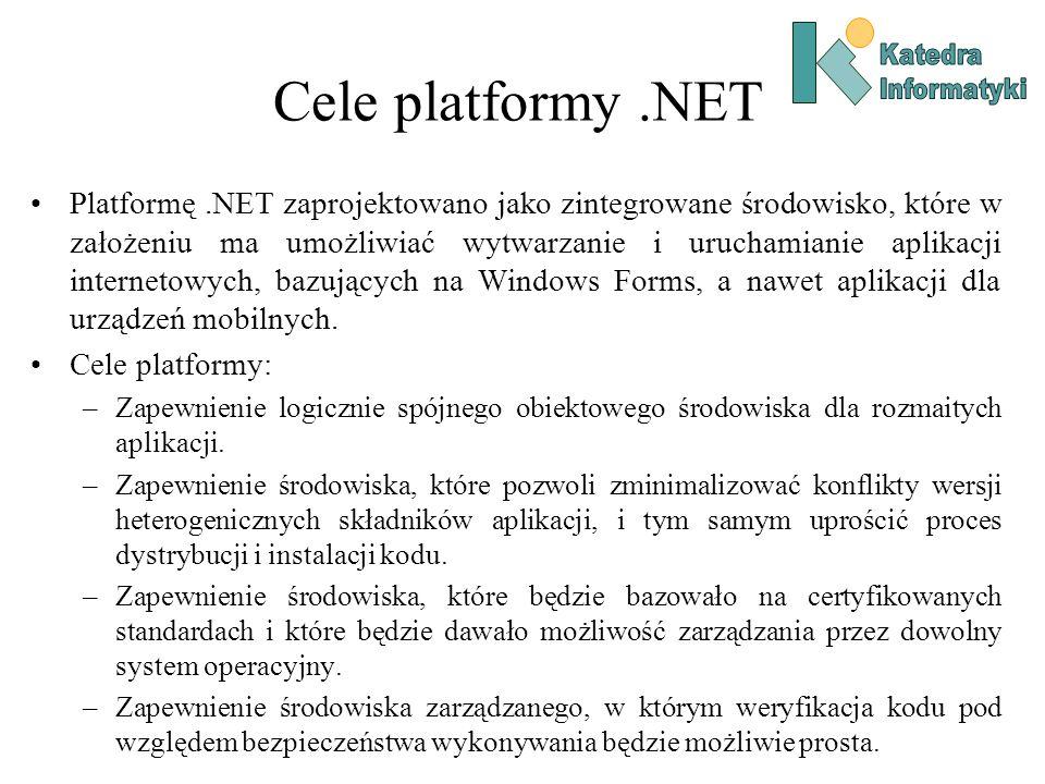 Cele platformy.NET Platformę.NET zaprojektowano jako zintegrowane środowisko, które w założeniu ma umożliwiać wytwarzanie i uruchamianie aplikacji internetowych, bazujących na Windows Forms, a nawet aplikacji dla urządzeń mobilnych.