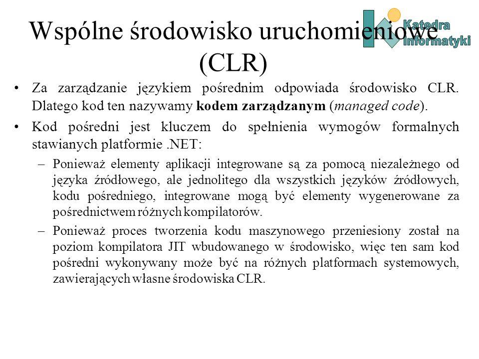Wspólne środowisko uruchomieniowe (CLR) Za zarządzanie językiem pośrednim odpowiada środowisko CLR.