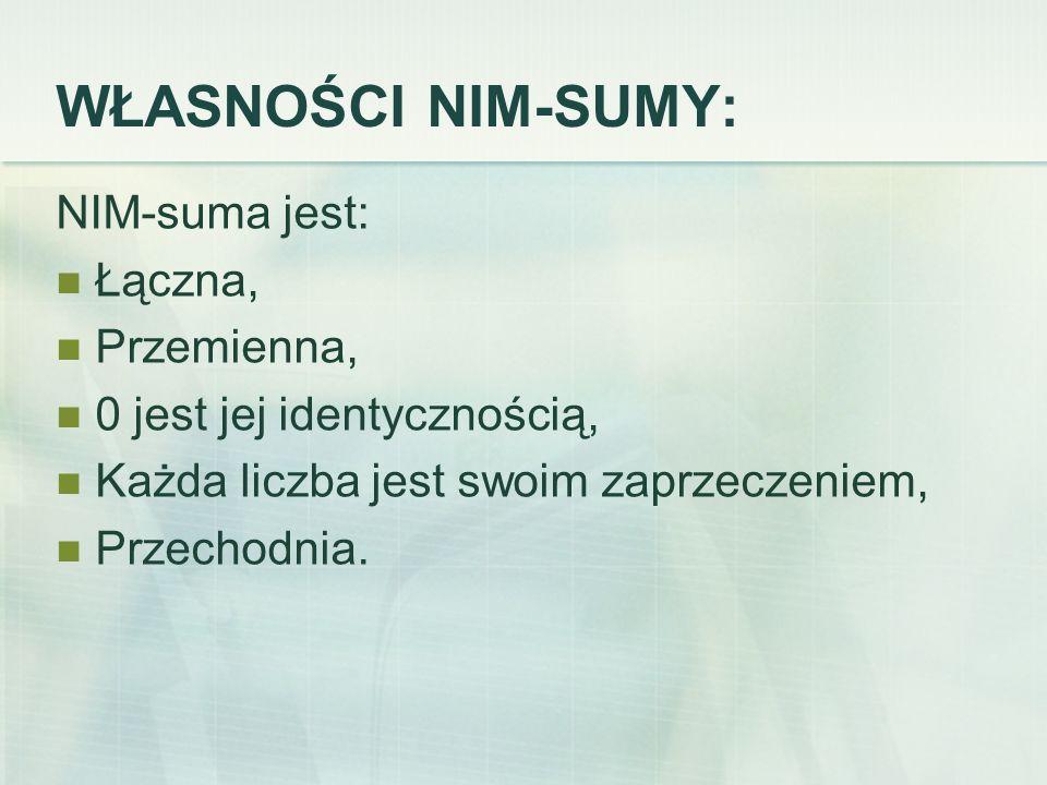 WŁASNOŚCI NIM-SUMY: NIM-suma jest: Łączna, Przemienna, 0 jest jej identycznością, Każda liczba jest swoim zaprzeczeniem, Przechodnia.