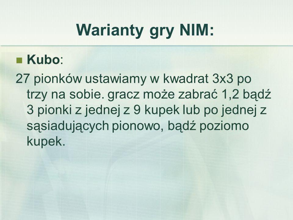 Warianty gry NIM: Kubo: 27 pionków ustawiamy w kwadrat 3x3 po trzy na sobie.