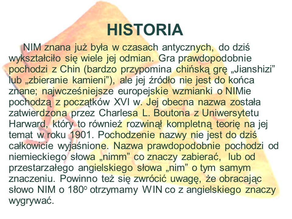 HISTORIA NIM znana już była w czasach antycznych, do dziś wykształciło się wiele jej odmian.