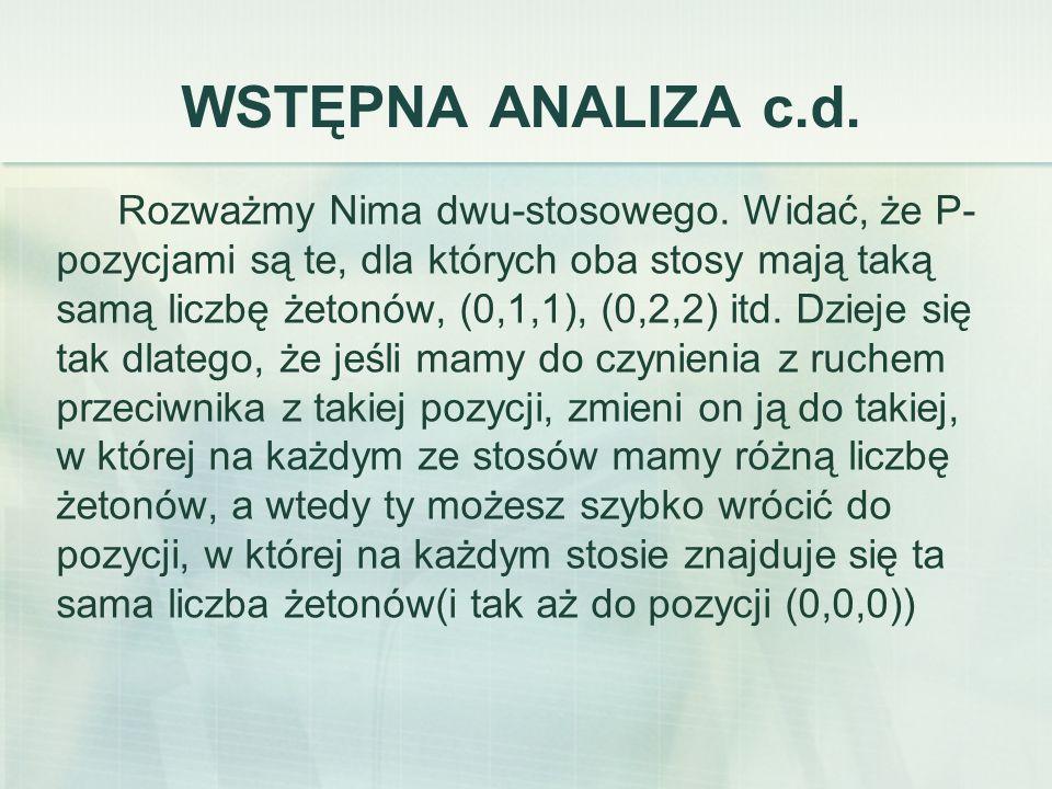 WSTĘPNA ANALIZA c.d. Rozważmy Nima dwu-stosowego.