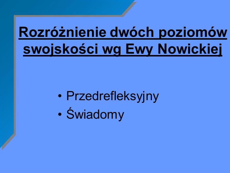Rozróżnienie dwóch poziomów swojskości wg Ewy Nowickiej Przedrefleksyjny Świadomy