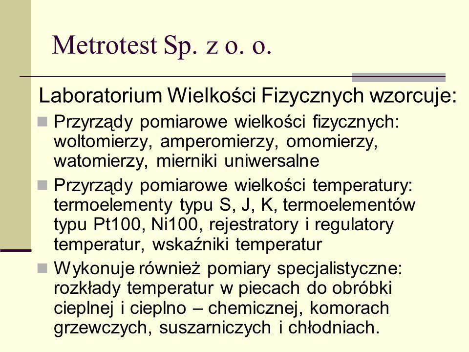 Metrotest Sp. z o. o. Przyrządy pomiarowe wielkości fizycznych: woltomierzy, amperomierzy, omomierzy, watomierzy, mierniki uniwersalne Przyrządy pomia
