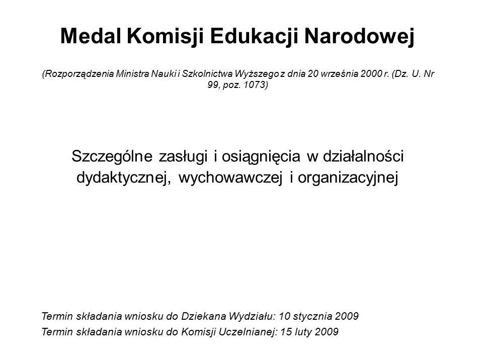 Medal Komisji Edukacji Narodowej (Rozporządzenia Ministra Nauki i Szkolnictwa Wyższego z dnia 20 września 2000 r.