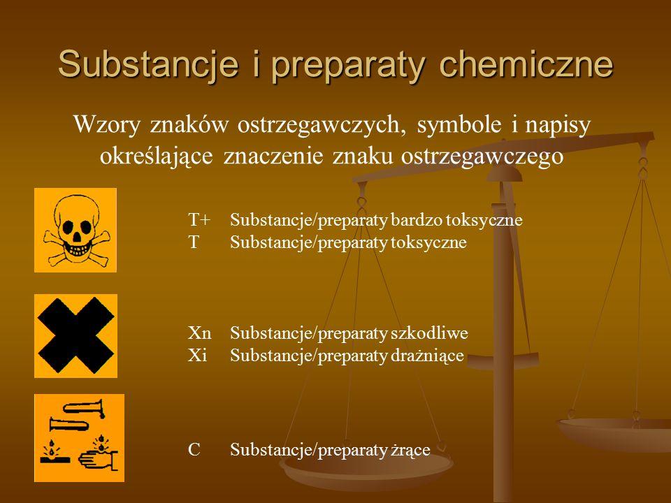 Substancje i preparaty chemiczne T+ Substancje/preparaty bardzo toksyczne T Substancje/preparaty toksyczne XnSubstancje/preparaty szkodliwe XiSubstanc