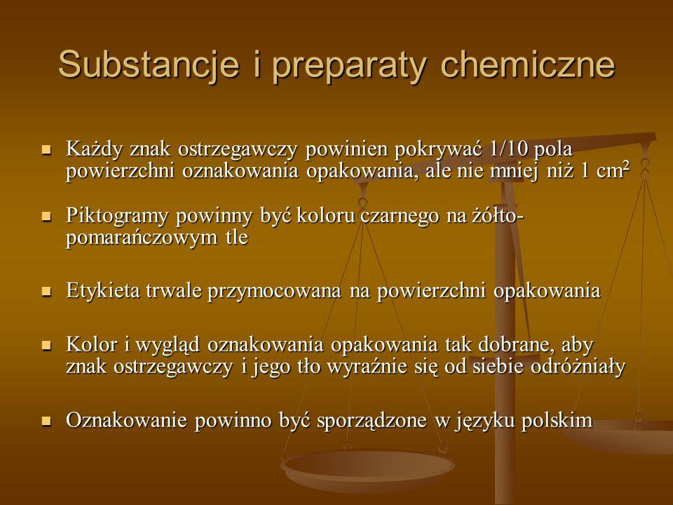 Substancje i preparaty chemiczne Każdy znak ostrzegawczy powinien pokrywać 1/10 pola powierzchni oznakowania opakowania, ale nie mniej niż 1 cm 2 Każd