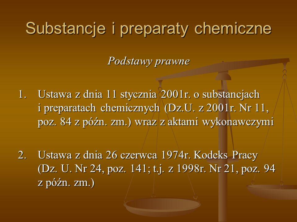 Substancje i preparaty chemiczne Podstawy prawne 1.Ustawa z dnia 11 stycznia 2001r. o substancjach i preparatach chemicznych (Dz.U. z 2001r. Nr 11, po