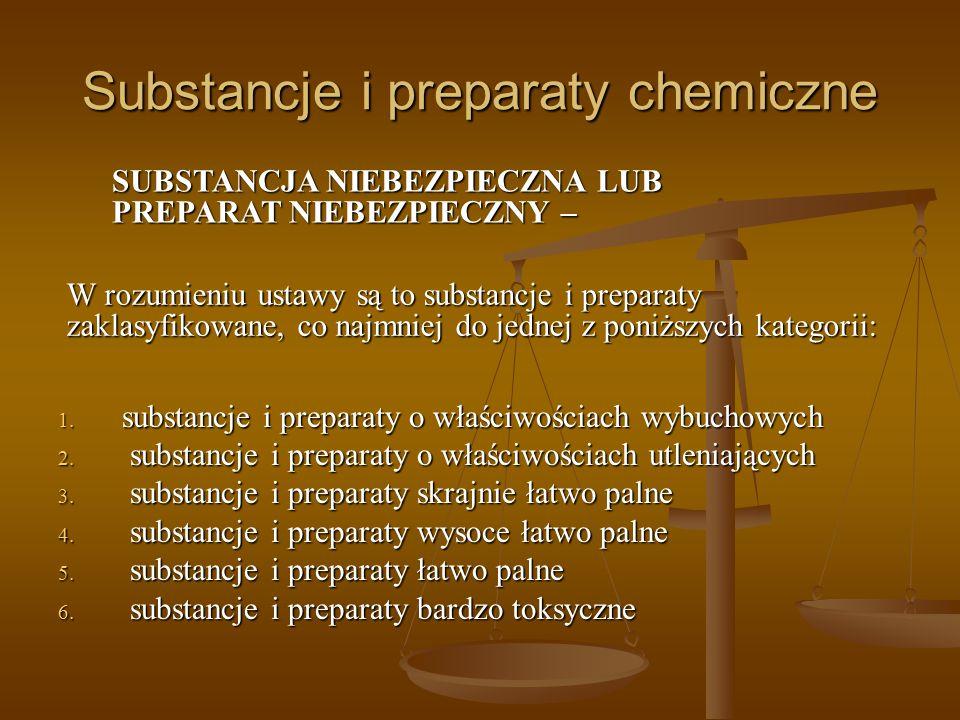 Substancje i preparaty chemiczne 1. substancje i preparaty o właściwościach wybuchowych 2. substancje i preparaty o właściwościach utleniających 3. su